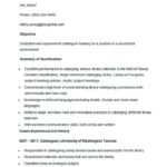 Sample Cataloguer Resume Template