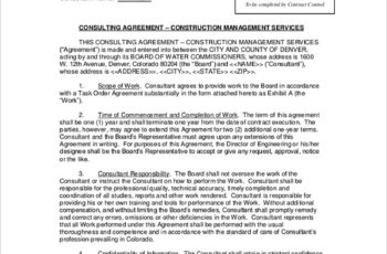 Sample Construction Consulting Agreement
