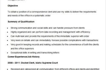 Sample Correspondence Clerk Resume Template