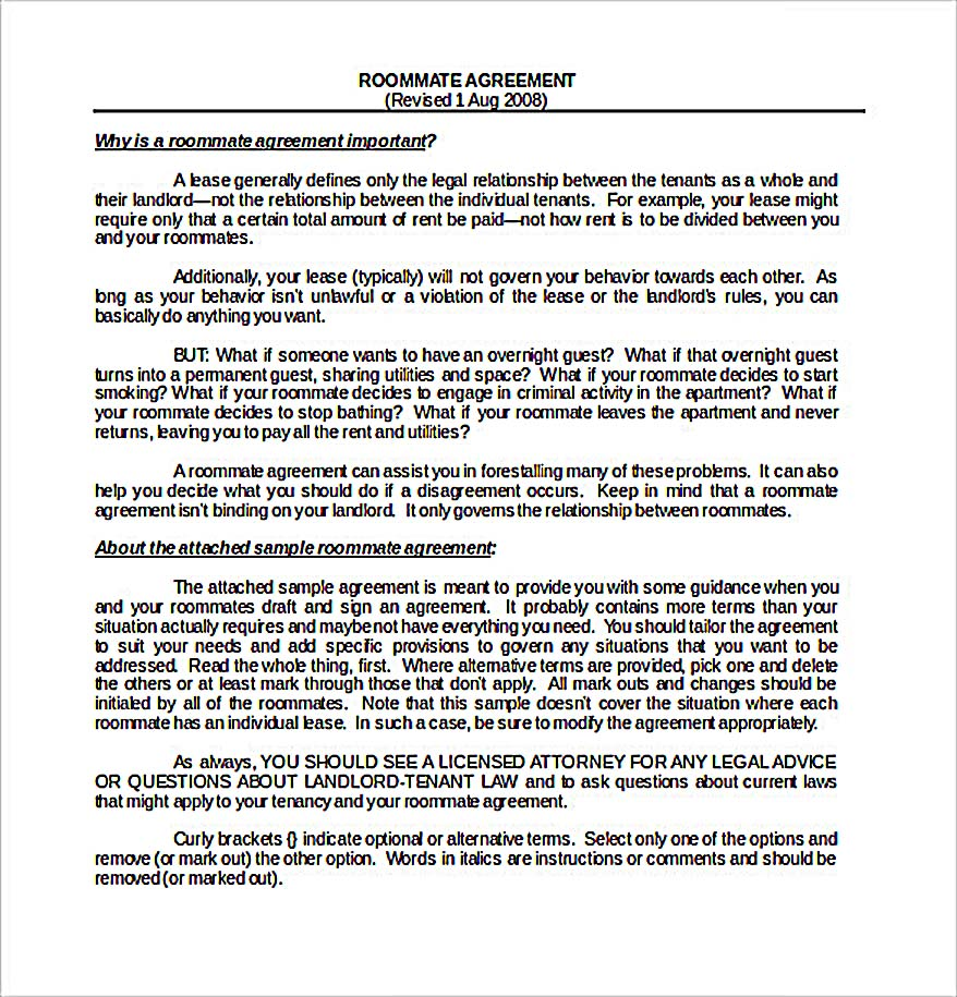 Sample Download Roommate Agreement Template1