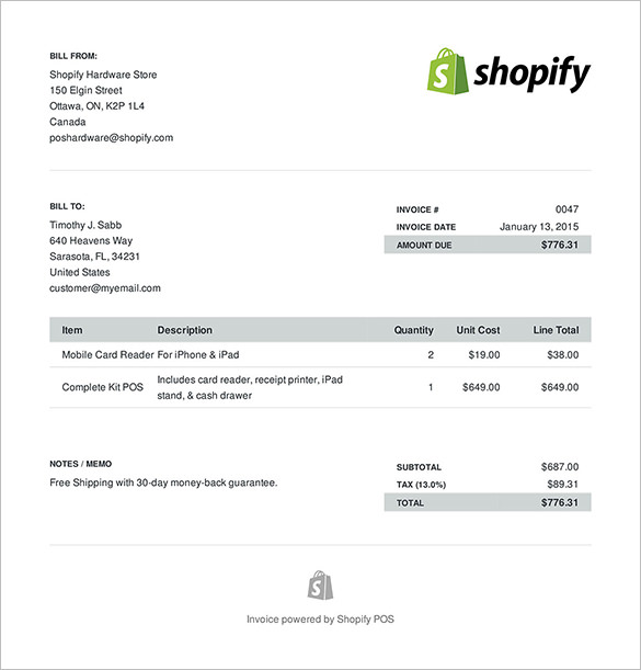 Sample Ecommerce Invoice Format