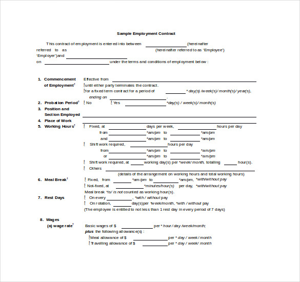 Sample Employee Contract Template Doc