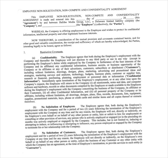 Sample Employee Non Compete Agreement Format