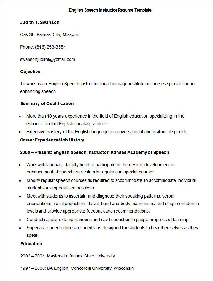 Sample English Speech Instructor Resume Template