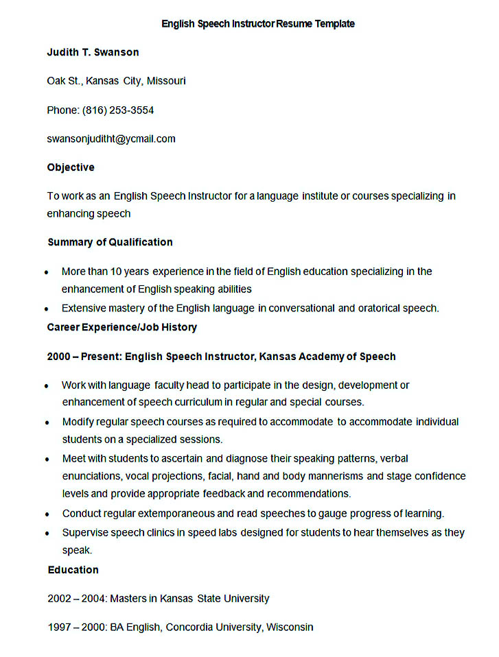 international project manager resume samples sample english speech instructor resume template good teachers resume format english epic english teacher - Resume Format English