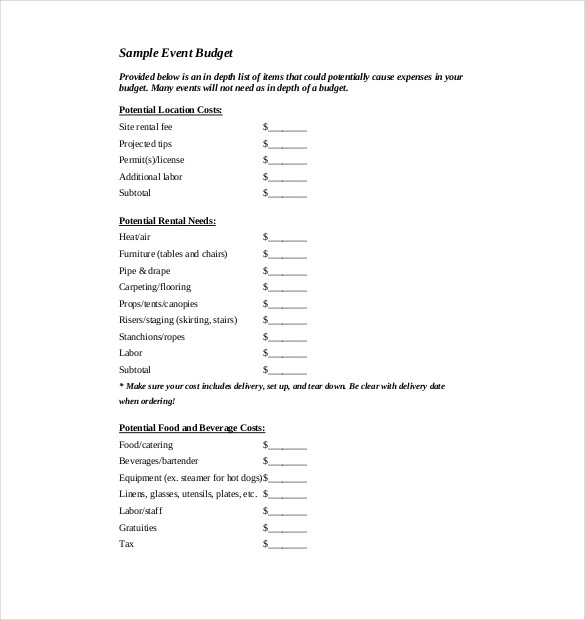 Sample Event Budget Template