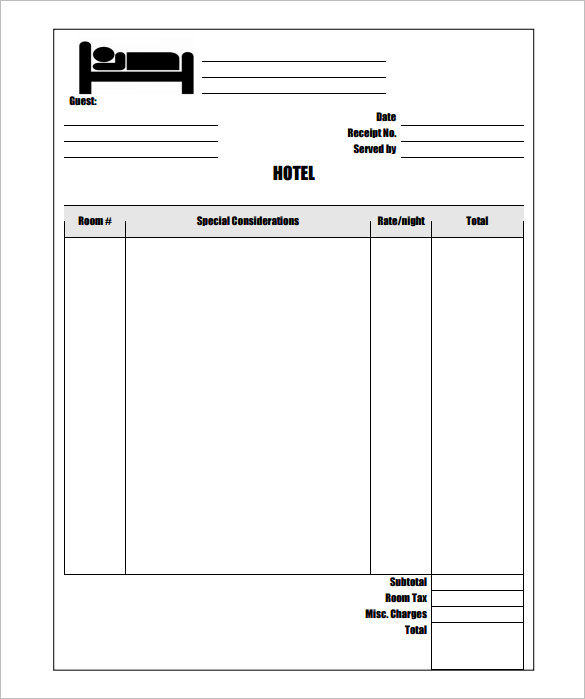 Sample Hotel Invoice Template Free