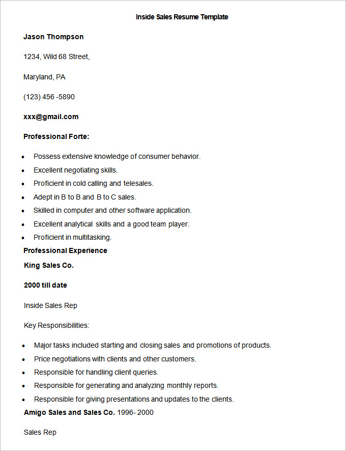 Sample Inside Sales Resume Template  How To Write A Sales Resume