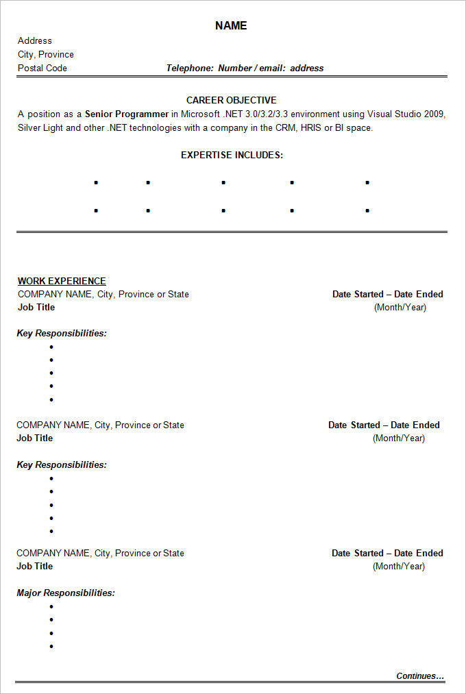 Sample Management Chronological Resume templates