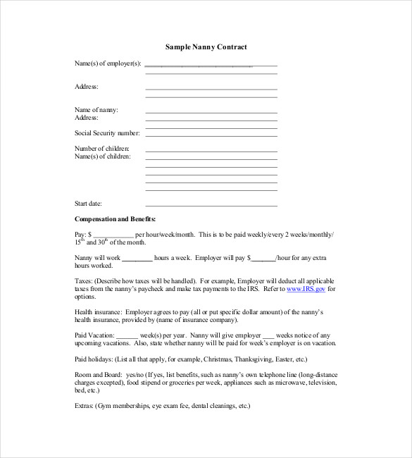 Sample Nanny Contract Template