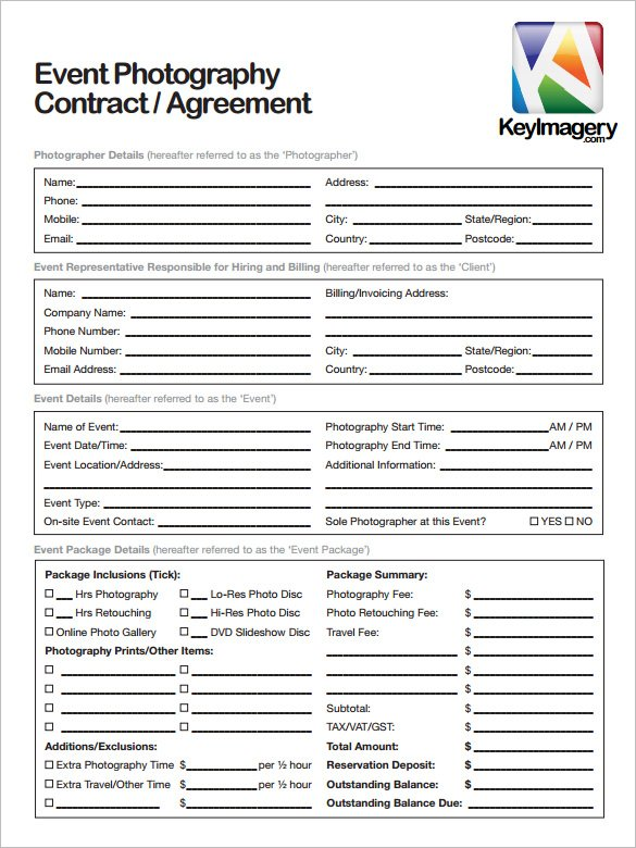 20+ Photography Contract Template