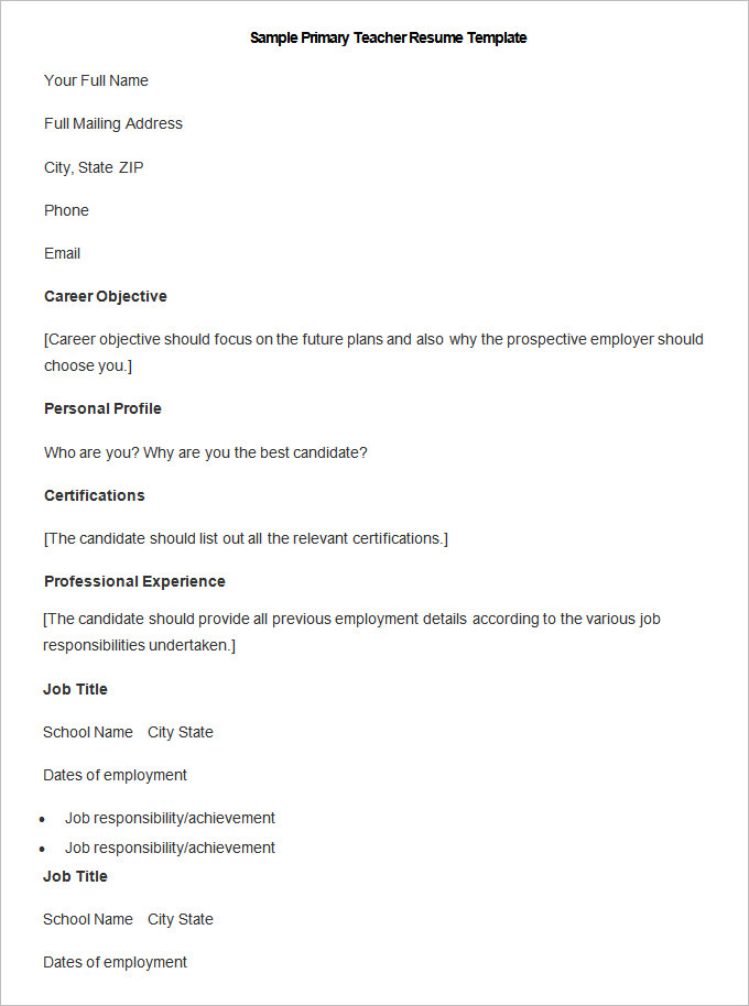 Teacher Resume Profile  BesikEightyCo