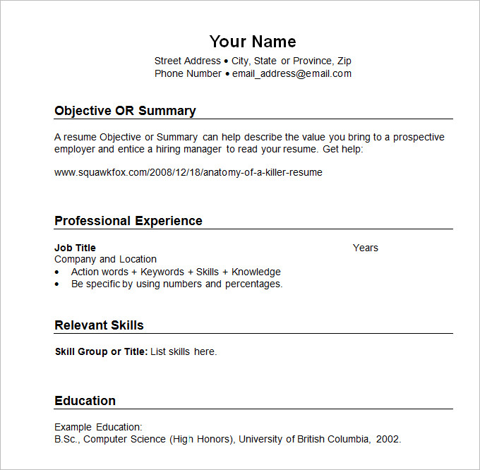 sample resume templates chronological