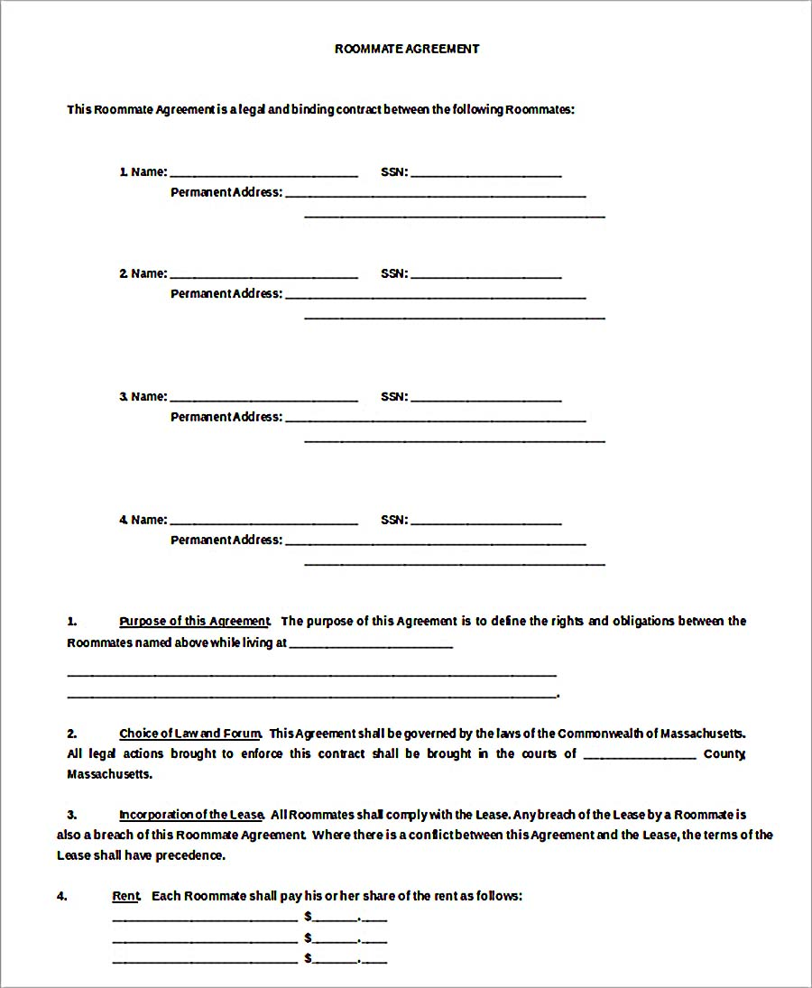 Sample Roommate Rental Agreement Free Download  Free Download Lease Agreement