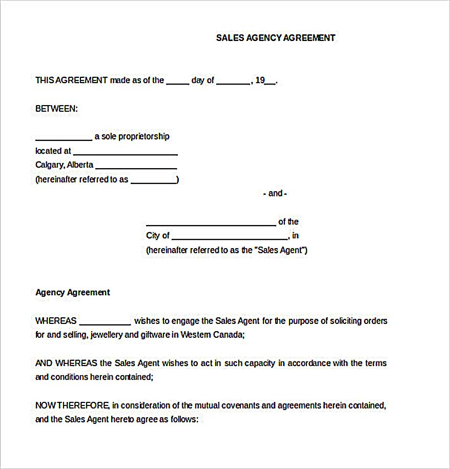 Sample Sales Agreement Template  Agent Agreement Template Free
