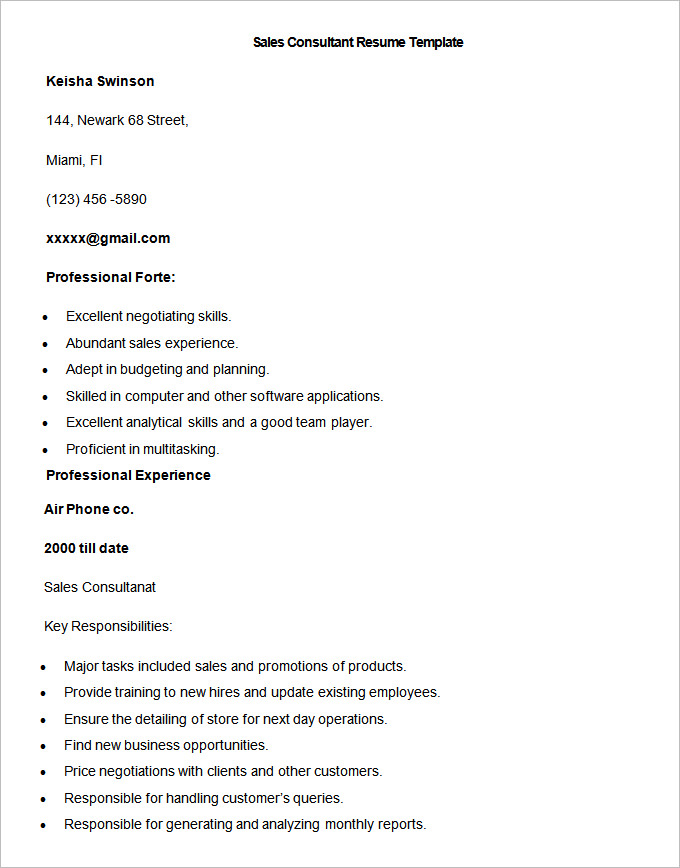 Sample Sales Consultant Resume Template