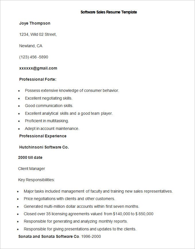 Sample Software Sales Resume Template  Good Sales Resume Examples