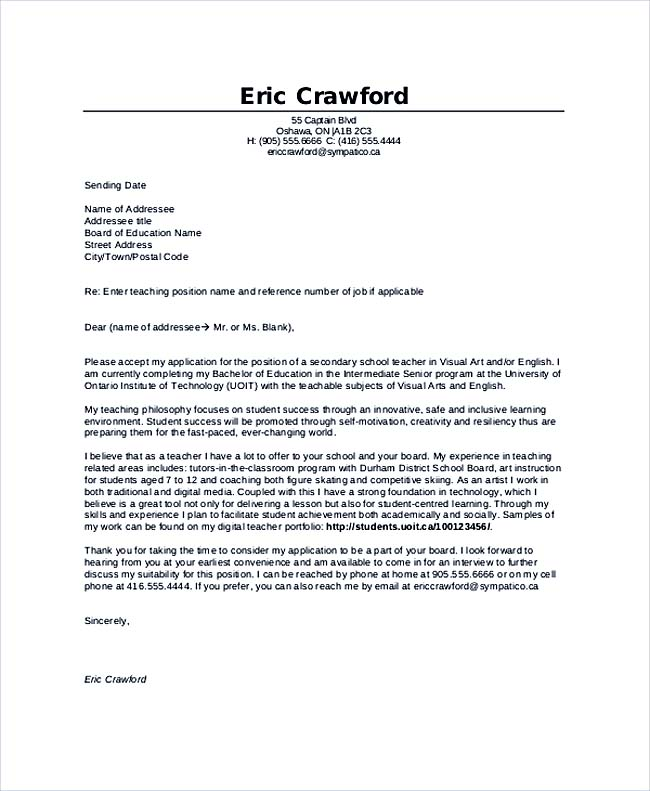 Teaching Cover Letter Examples for Successful Job Application – Sample Education Cover Letter Example