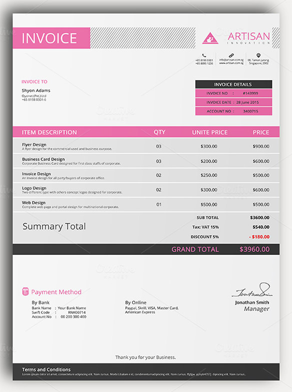 Sample of Invoice Template Sample