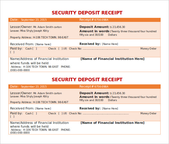 Security Deposit Receipt Template Doc for Free