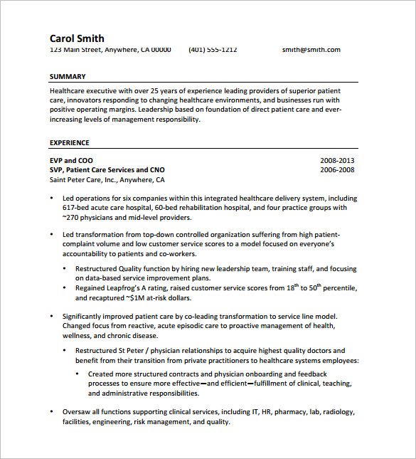 Senior Executive Resume Free