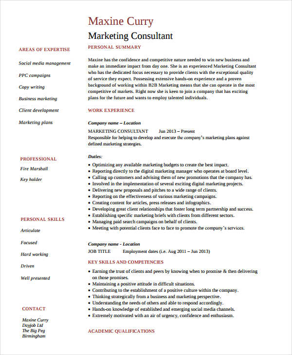 Senior Marketing Consultant Resume