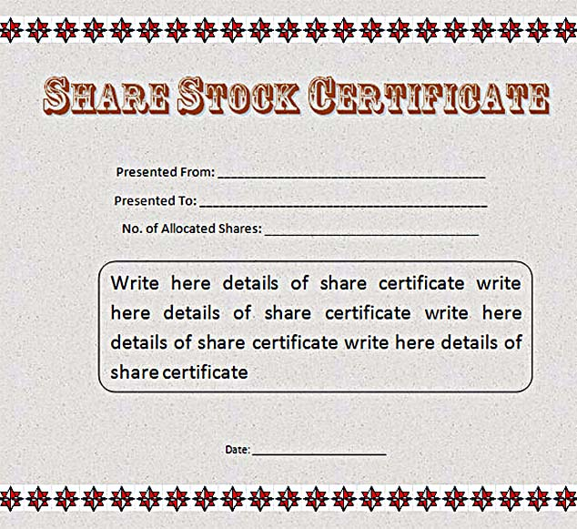 ... Share Stock Certificate Template MS Word Free ...  Certificate Word