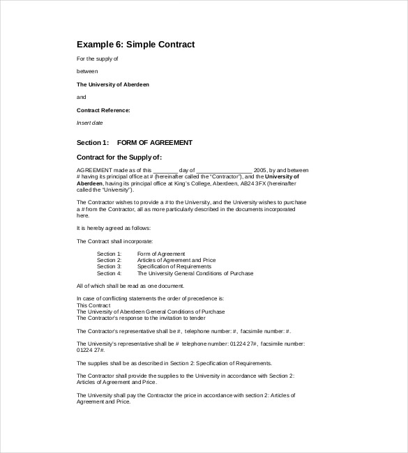 Simple Contract Template Free