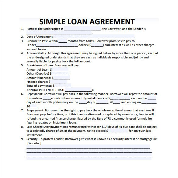 word 2007 loan agreement
