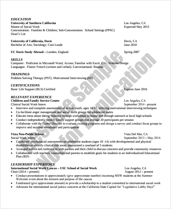 Social Work Resume TemplateSocial Work Resume Template