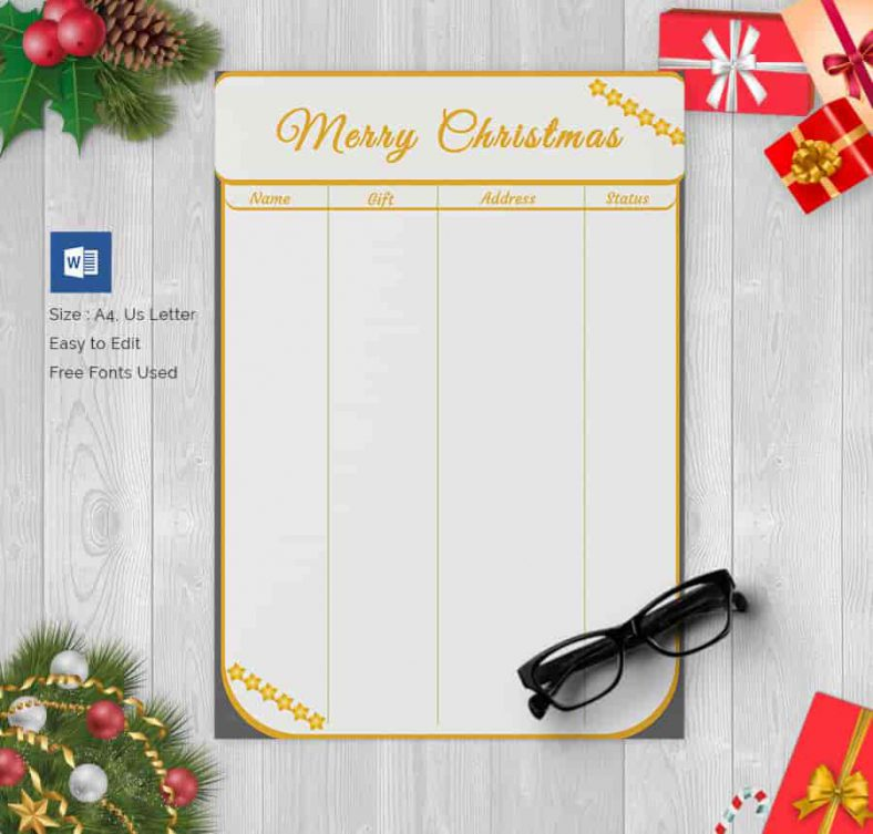 Special Christmas Gift List 788x753