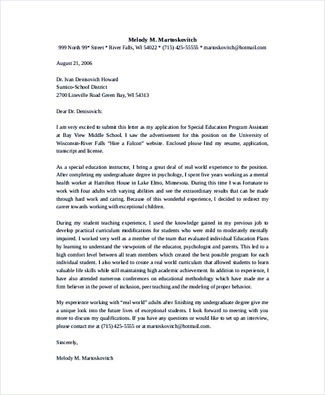 Special Education Program Assistant Teacher Cover Letter Template  Education Cover Letter Template