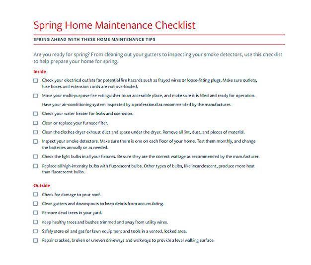 Spring Home Maintenance Checklist Template