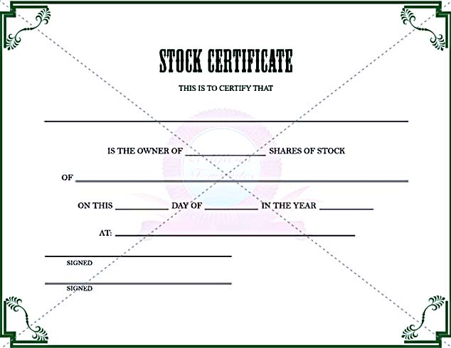 Stock Certificate Template to in PDF Printable