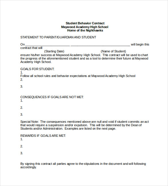 Student Behavior Contract Template Word Format