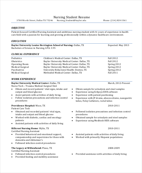 Student Nurse Resume Examples. Nursing Student Resume Clinical
