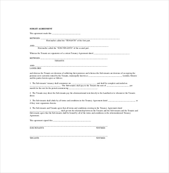 Sublease Agreement Form Template