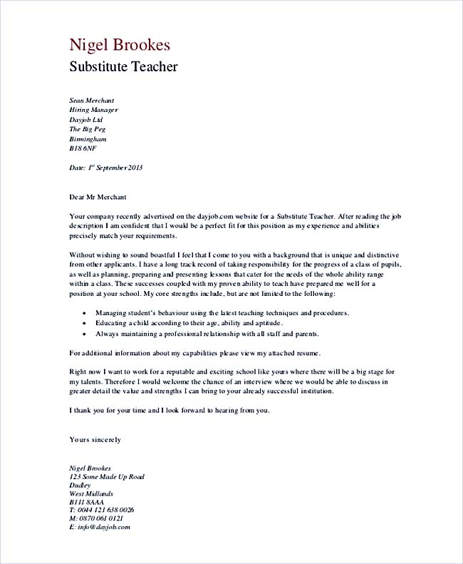 Substitute Teacher Cover Letter Example Teacher Cover Letter