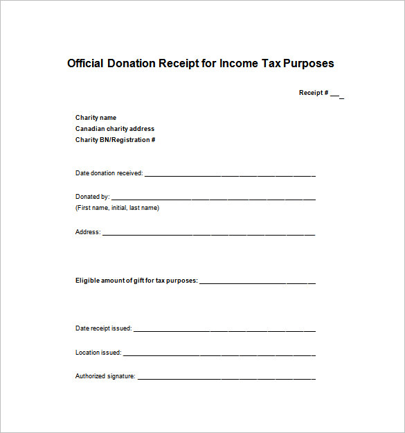 Tax Donation Receipt Template