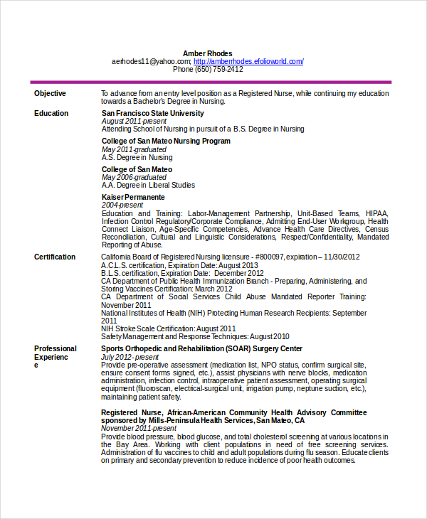 Telemetry Nurse Resume Free