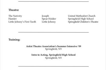 Theatre Actor Resume