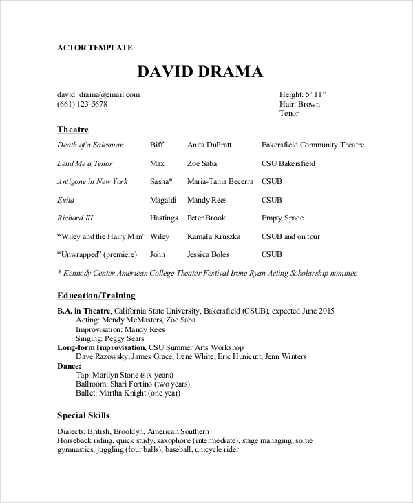 Theatre Director Resume Template