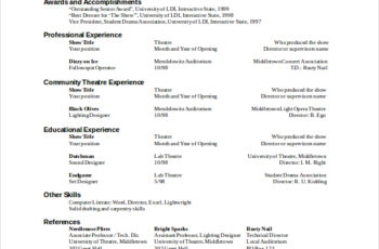 The General Format And Tips For Theatre Resume Template Technical Support