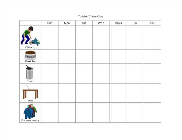 Toddler Chore Chart Template