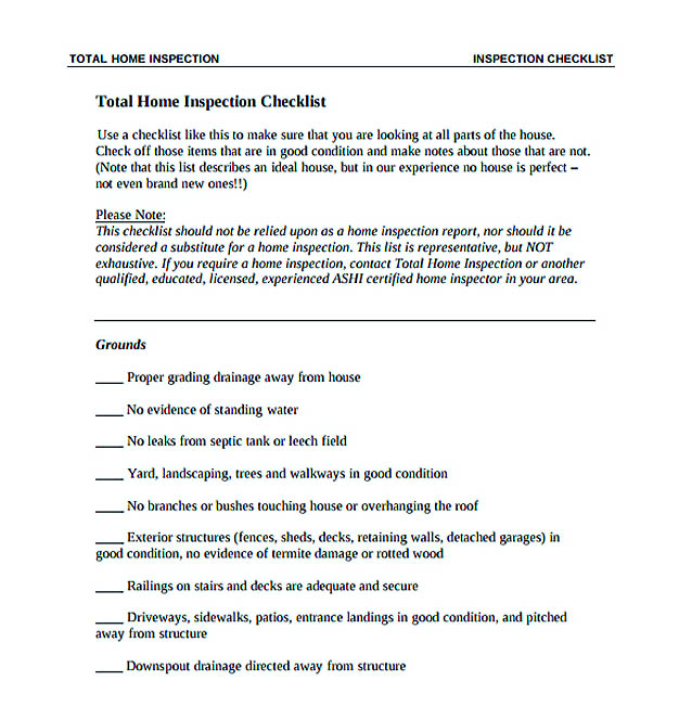 Total Home Inspection Checklist Template Download