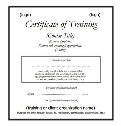 Training Certificate PDFs Template