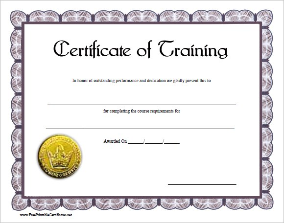 Training Certificate Template Sample