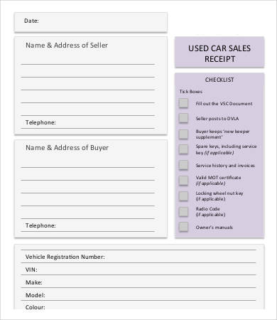 Used Car Sales Receipt Template
