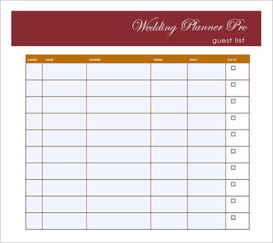 Wedding Guest List Template PDF  Guest List Sample