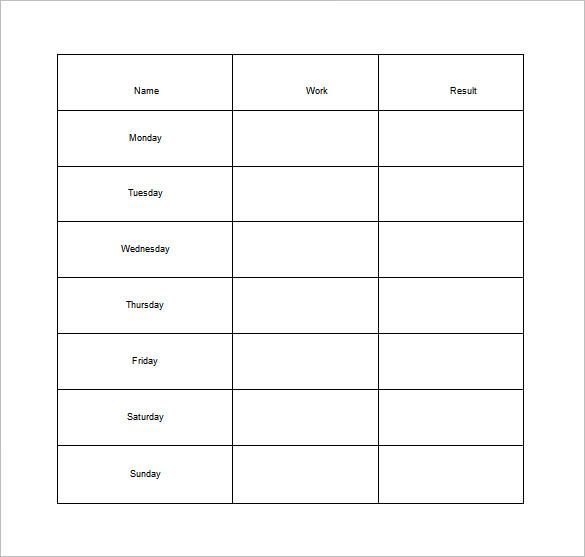 Weekly Chore Chart for Adults Free Word Template